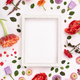 White vintage frame and flowers on a white background - PhotoDune Item for Sale