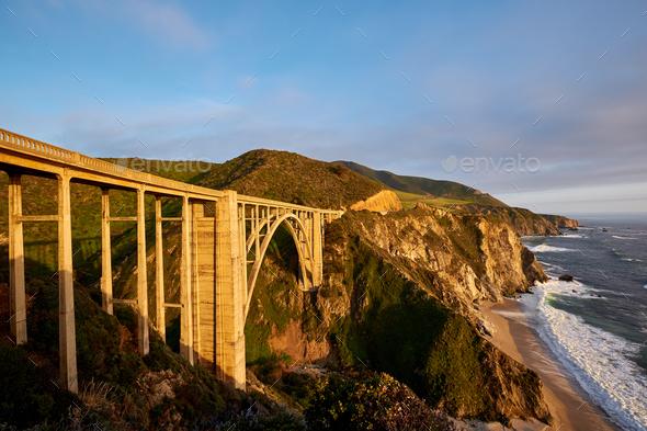 Bixby Creek Bridge on Highway 1, California - Stock Photo - Images
