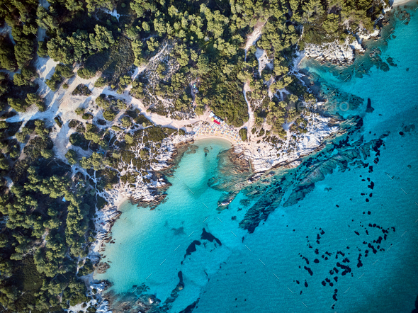 Beautiful beach top aerial view drone shot - Stock Photo - Images