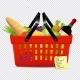 Shopping List and Red Basket with Foods Isolated - GraphicRiver Item for Sale