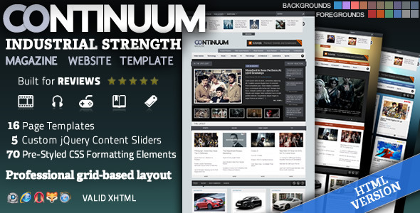 Continuum - Magazine HTML Theme - Entertainment Site Templates