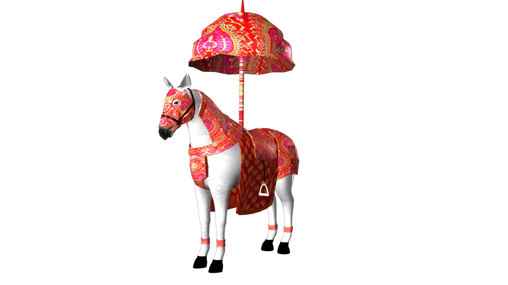 Indian Wedding Horse Rigegd and Animated