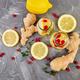 Detox water in bottles with cranberrie, ginger, lemon, mint - PhotoDune Item for Sale