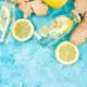 Detox water in bottles with ingredients, ginger, lemon, mint - PhotoDune Item for Sale