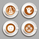 Colored Latte Art Top View Icon Set - GraphicRiver Item for Sale