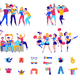 Fans Cheering Team Icon Set - GraphicRiver Item for Sale