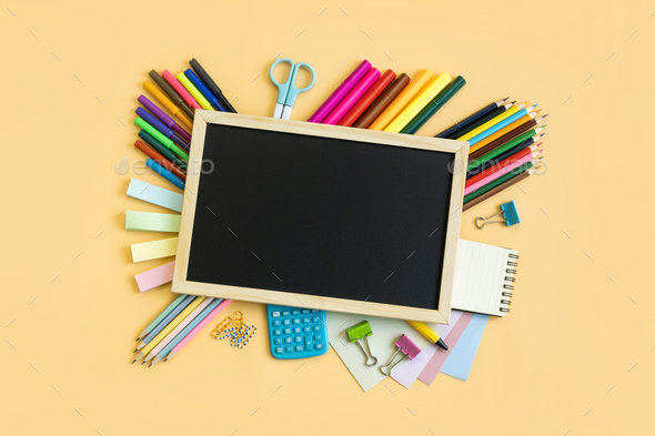School supplies stationery equipment on color background with copy space, Back to school concept - Stock Photo - Images