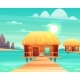 Comfortable Bungalows on Tropical Beach Vector - GraphicRiver Item for Sale