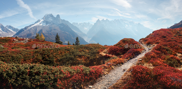 Amazing view on Monte Bianco mountains range with Monblan on background - Stock Photo - Images