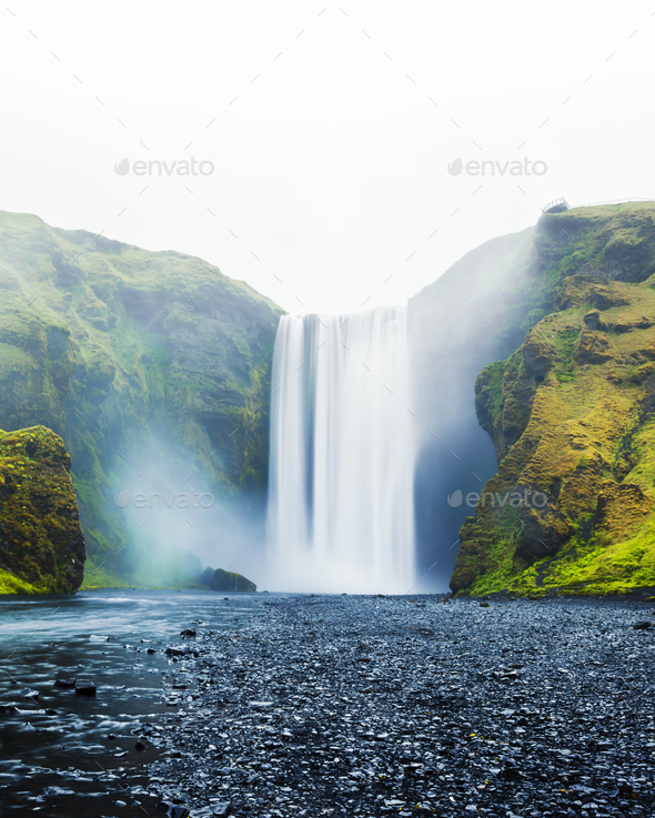 Famous Skogafoss waterfall - Stock Photo - Images