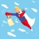 Super Hero Modern Father Flying with Child - GraphicRiver Item for Sale