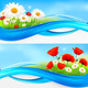 Flower Banners with Red Poppies and Daisies.  - GraphicRiver Item for Sale