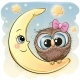 Cartoon Owl Girl on the Moon - GraphicRiver Item for Sale