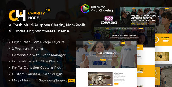 Download Charity Hope – Non-Profit & Fundraising WordPress Charity Theme nulled CharityHope Preview