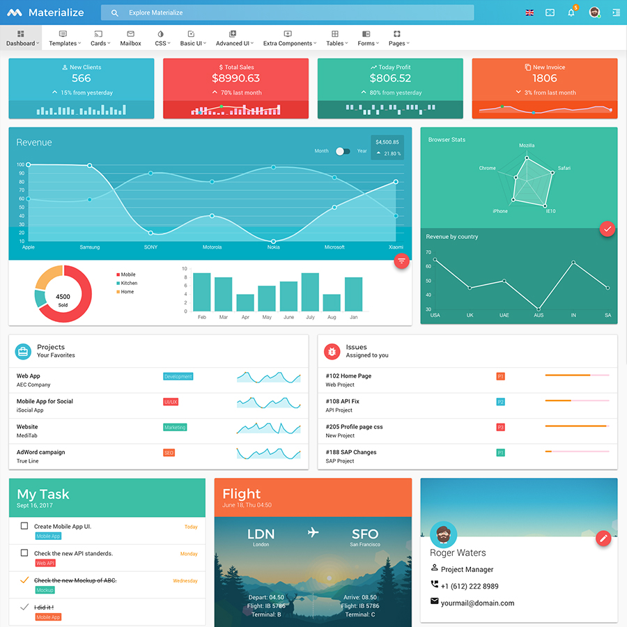 Materialize - Material Admin Template
