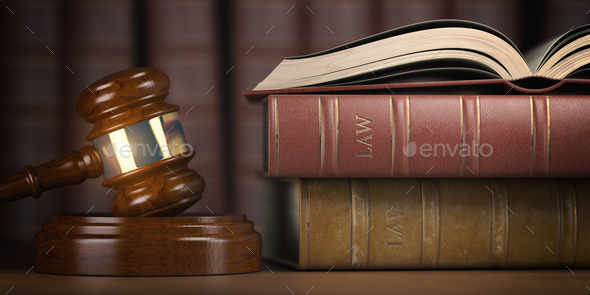 Justice, law and legal concept. Judge gavel and law books. - Stock Photo - Images