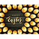 Golden Easter Eggs on Black Wooden Background - GraphicRiver Item for Sale
