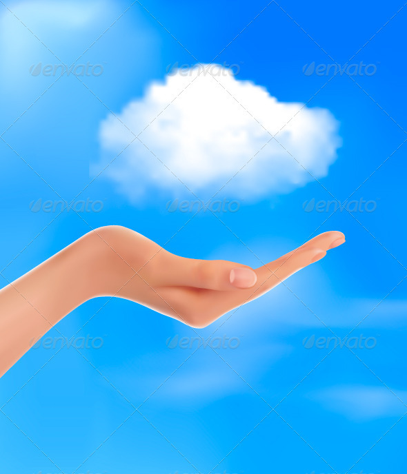 Cloud Computing Concept Hand with Blue Sky  - Concepts Business