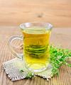 Tea of thyme in mug on wooden board - PhotoDune Item for Sale