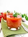 Soup tomato in two glasses with parsley on light board - PhotoDune Item for Sale