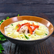 Soup creamy of chicken and pasta with pepper in plate on table - PhotoDune Item for Sale