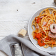 Pasta with chunks of fresh tuna, tomato and capers - PhotoDune Item for Sale