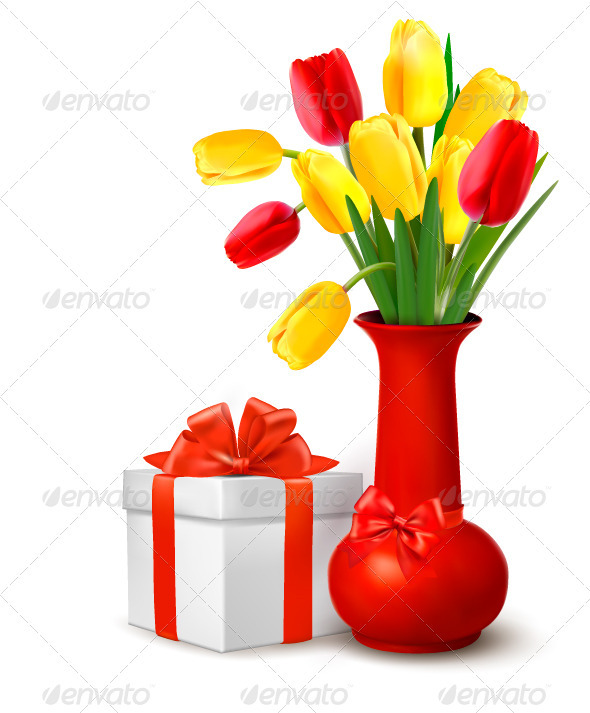 Flowers in Vase and Gift Box with Ribbons  - Birthdays Seasons/Holidays
