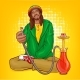 Vector Pop Art Rastafarian Guy Suggests Hookah - GraphicRiver Item for Sale