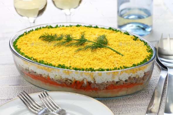 mimosa salad, mimosa day dinner - Stock Photo - Images