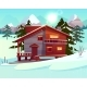 Vector Cartoon Luxury Hotel Winter Resort - GraphicRiver Item for Sale