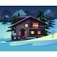 Vector Cartoon Luxury Hotel Chalet at Night - GraphicRiver Item for Sale