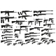 Graphic Black Silhouette Weapon and Firearm Icons - GraphicRiver Item for Sale