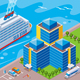 Seaport Isometric Colored Concept - GraphicRiver Item for Sale
