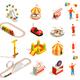 Amusement Park Isometric Icons - GraphicRiver Item for Sale