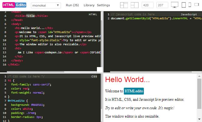 HTMLEdito - HTML, CSS, JavaScript Live Editor