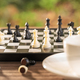 Coffee cup on wood table with Chess board-5 - PhotoDune Item for Sale