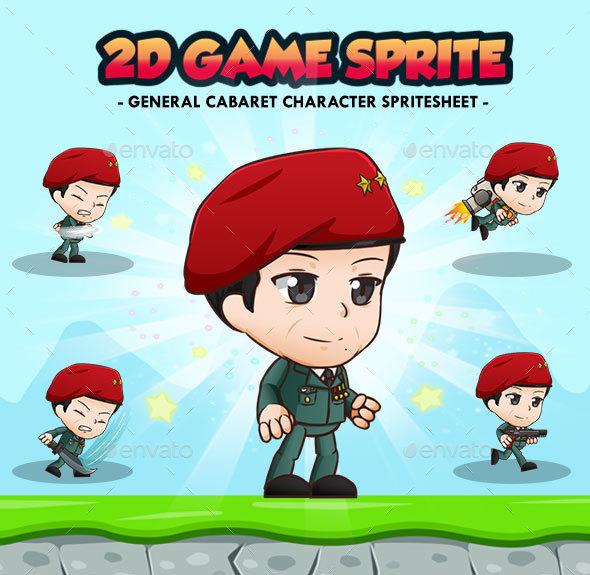General Red Cabaret - 2D Game Character Sprites