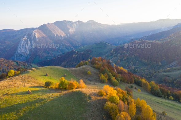 Aerial drone shot over autumn scenery in Transylvania, Romania - Stock Photo - Images
