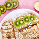 Healthy breakfast toasts with kiwi, apple, cottage cheese and chia seeds - PhotoDune Item for Sale