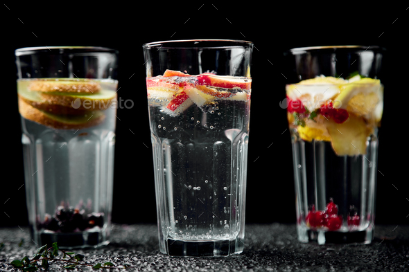 Variety of  Detox infused water. Diet. Healthy drink. - Stock Photo - Images