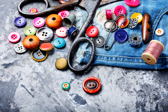 Sewing accessories and fabric - Stock Photo - Images