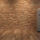 Interior with grey fridge and brick wall 3D illustration - PhotoDune Item for Sale