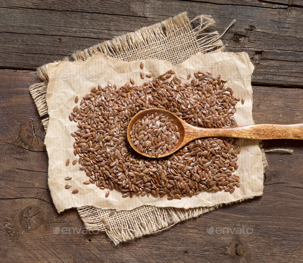 Flax seeds with spoon - Stock Photo - Images
