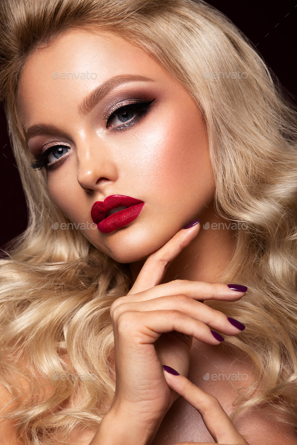 Beautyful girl with bright make up. Cherry lips - Stock Photo - Images