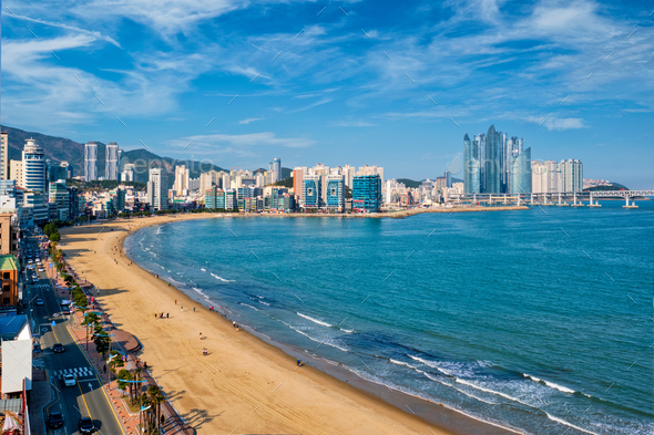 Gwangalli Beach in Busan, South Korea - Stock Photo - Images