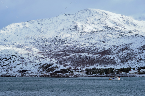 Fishing ship in fjord in Norway - Stock Photo - Images