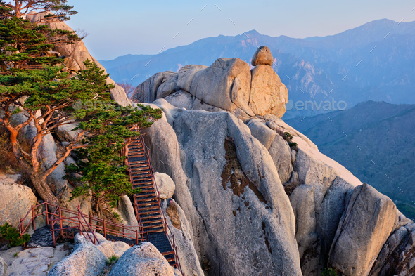 View from Ulsanbawi rock peak on sunset. Seoraksan National Park, South Corea - Stock Photo - Images