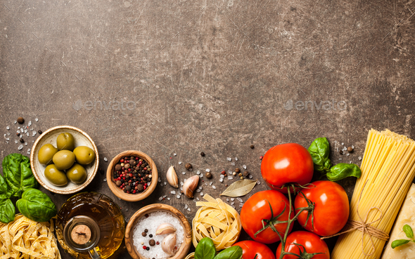 Italian cuisine concept with ingredients - Stock Photo - Images