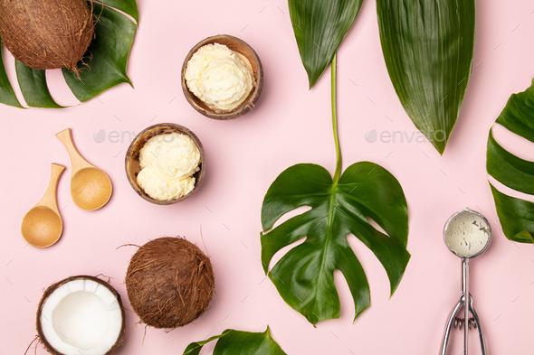coconut ice cream - Stock Photo - Images