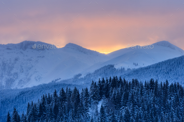 sunrise in Bucegi Mountains, Romania - Stock Photo - Images